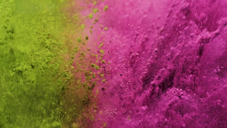 Pink and yellow powder jumping