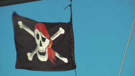 Pirate flag on a boat
