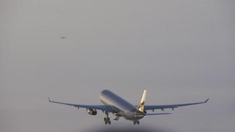 Plane landing gear going up