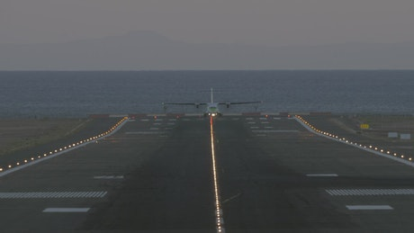 Plane taking off from a scenic runway