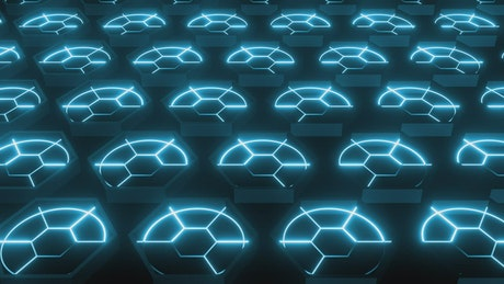 Platform with hexagons with neon light circles