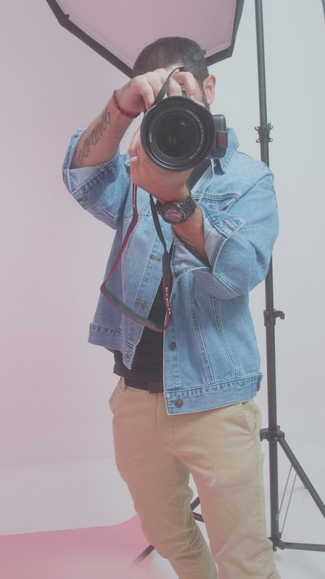 Point of view of a model during a photo shoot