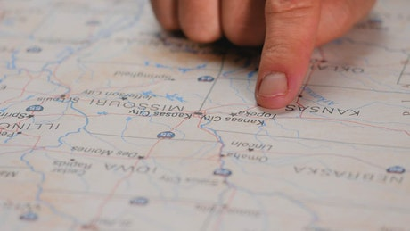 Pointing a line in the US territory on a map