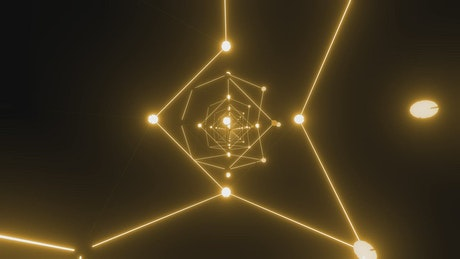 Points and lines of yellow light moving in space