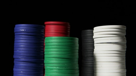 Poker chips stacked on a table