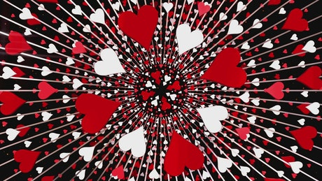 Poker hearts flying in circles, loop video
