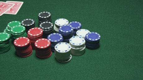 Poker player claiming their chips