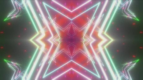 Polygons with neon colored lights peaks