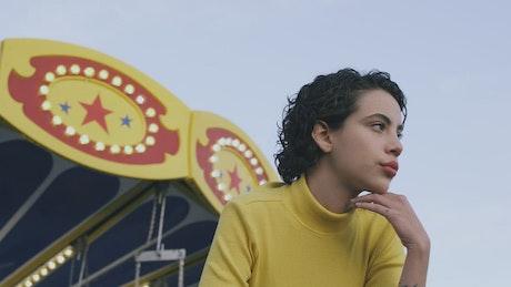 Portrait of a girl at an amusement park