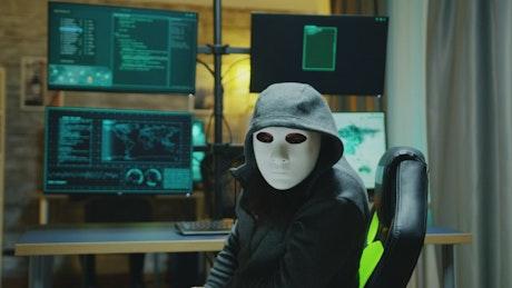 Portrait of a hacker wearing a mask