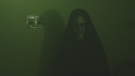 Portrait of a nun on Halloween