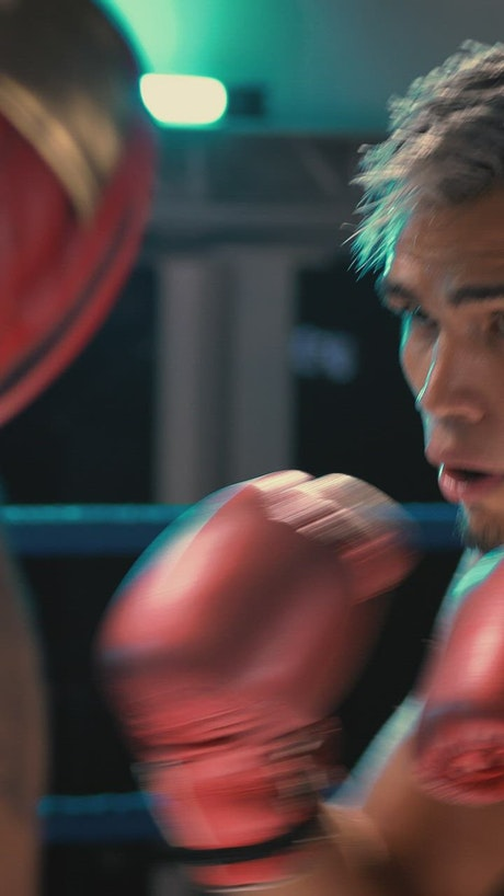 Portrait of a young boxer training on a ring