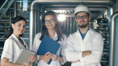 Portrait of engineers in factory