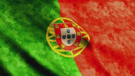 Portugal flag waving, render