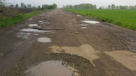 Potholes in a rural road