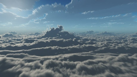 POV of a ship flying in the clouds