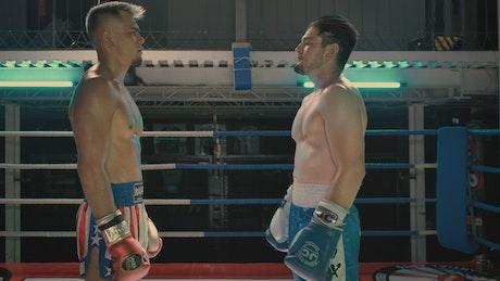Practice fight between boxers