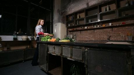 Preparing a smoothie in the kitchen