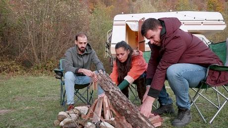 Preparing to start a campfire