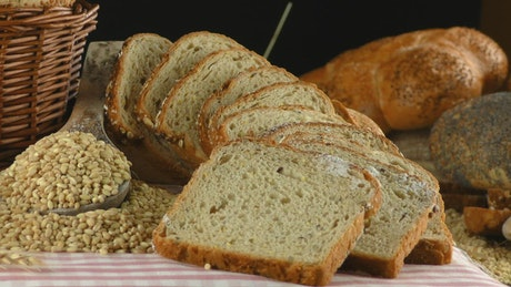 Presentation of bread, wheat, eggs, flour rotating