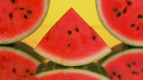 Presentation of watermelon slices