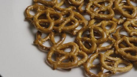 Pretzel snack rotating