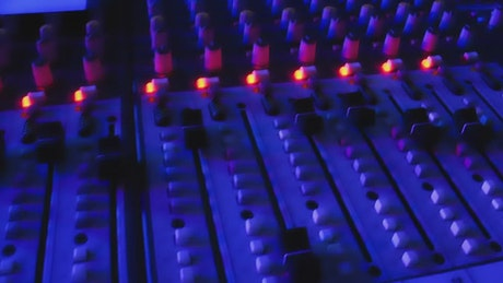 Professional sound console in a nightclub