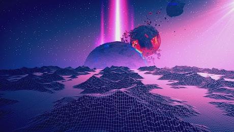 Purple cyberpunk space with digital worlds