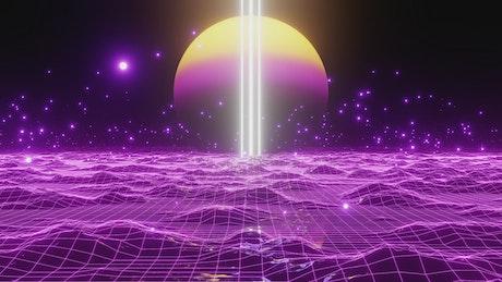 Purple cyberpunk world in digital space
