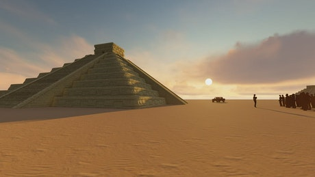 Pyramids and tourists in the desert