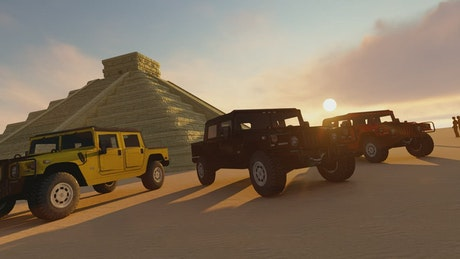 Pyramids, tourists and off-roads vehicles