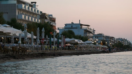 Quiet town beach in the evening