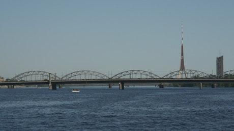 Railway bridge and radio tower landscape
