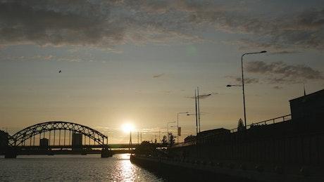 Railway bridge and sunset