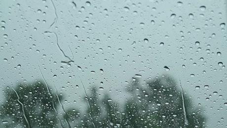 Rain falling on a car window