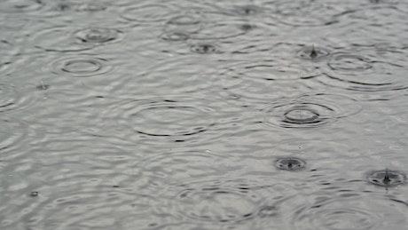 Rain waves close up