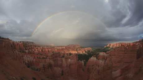 Rainbow across a canyon