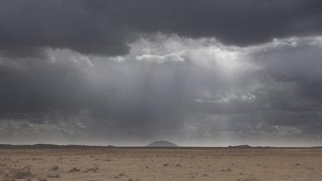 Rainstorm clouds approaching the desert