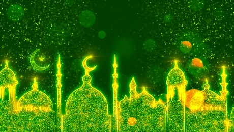 Ramadan Kareem made with green particles, 3D