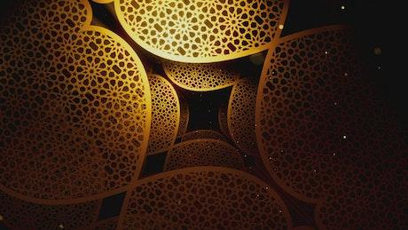 Ramadan Kareem Style Floating Golden Figures