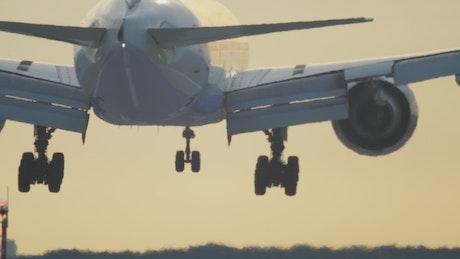 Rear view of airplane landing
