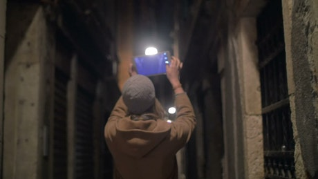 Recording a walk at night