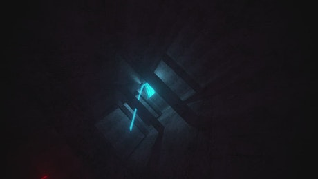 Red and blue energy in a dark spot, 3D