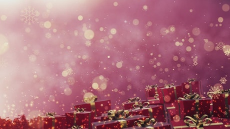 Red Christmas gifts and gold snowflakes