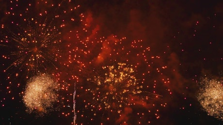 Red fireworks at city day festival