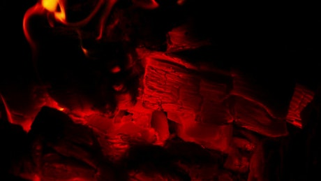 Red hot coal and flames