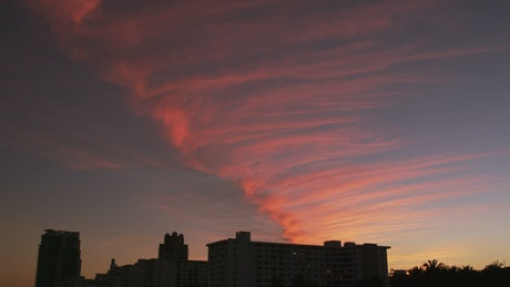 Red sky above the city