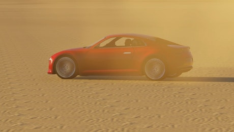Red sports car in the desert