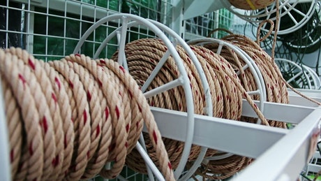 Reels of ropes in a hardware store