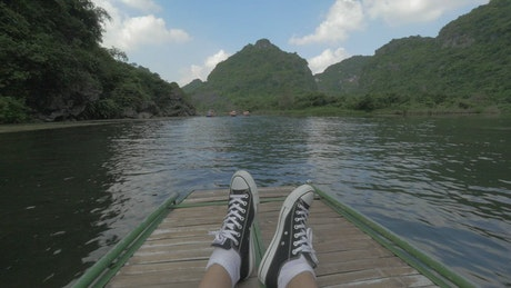 Relaxing on a river trip in Vietnam